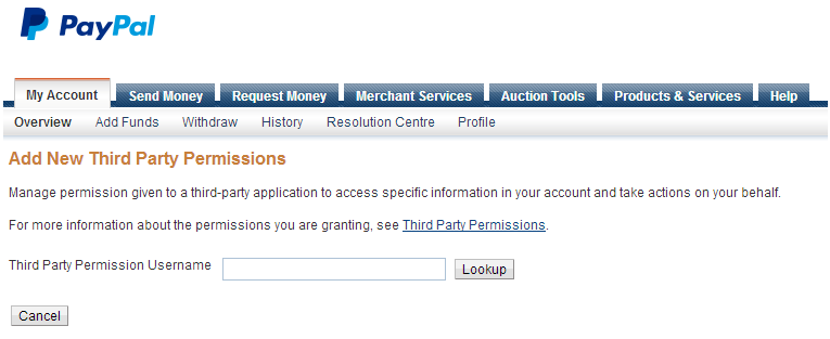 PayPal sandbox 3rd party permissions page
