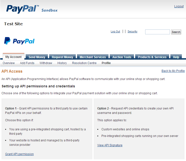 PayPal sandbox API settings screen