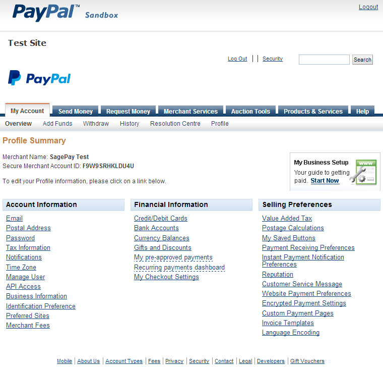 PayPal sandbox account settings page