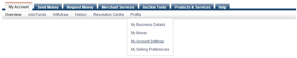 PayPal sandbox account settings toolbar