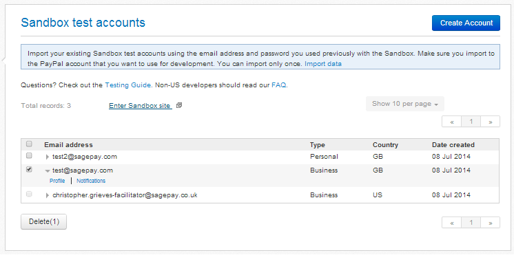 PayPal sandbox accounts management screen