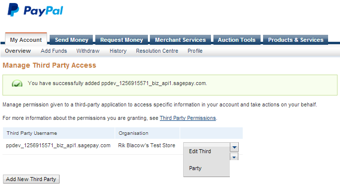 PayPal sandbox 3rd party permissions confirmation