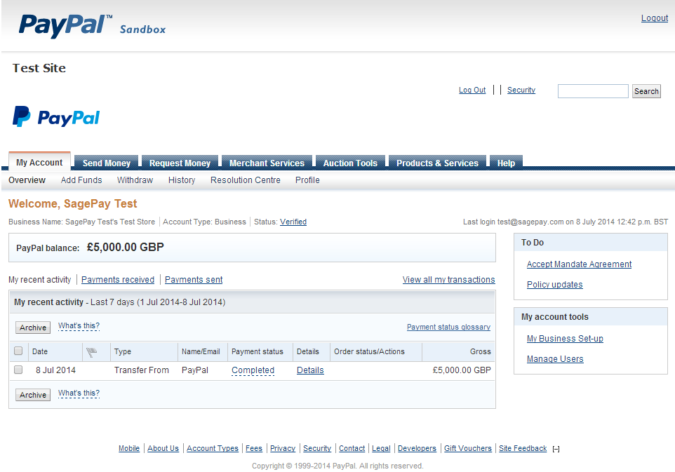 PayPal sandbox transaction activity screen