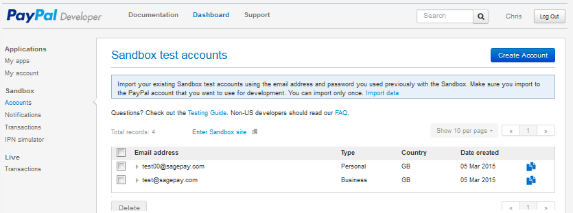 Paypal Creating Pay A Account Test - Sage