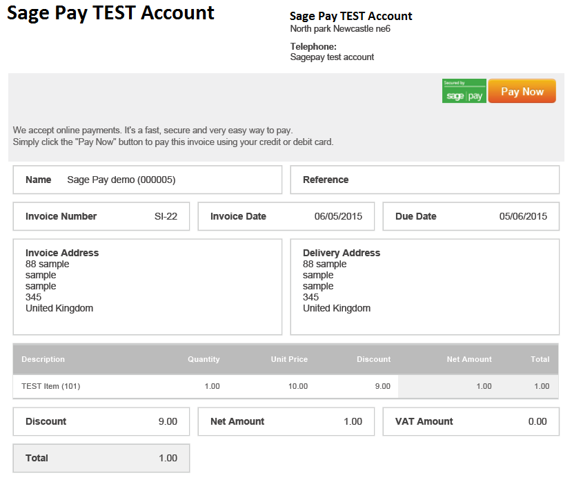 sage one process an invoice payment transaction sage pay